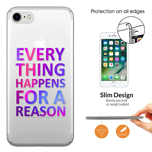 """c00687 - Everything Happens For A Reason Inspirational Quote Design iphone 6 6S 4.7"""" Fashion Trend Leichtgewicht Hülle Ultra Slim 0.3MM Kunststoff Kanten und Rückseite Protection Hülle - Clear"""