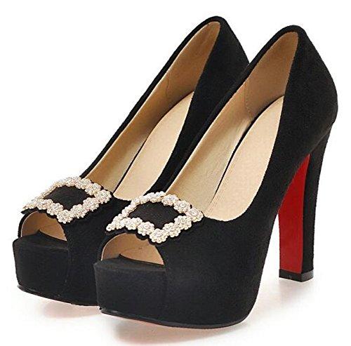 IDIFU Womens Fashion Rhinestones Platform High Heels Chunky Slip On Pumps Black Zhs136ZjE
