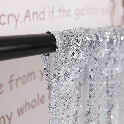 TRLYC 20 Ft X 10 Ft Silver Sequins Backdrop Curtain by TRLYC (Image #3)