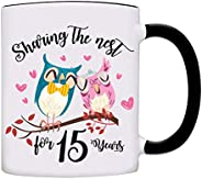 Sharing The Nest for 15 Years, Happily Married Couple Anniversary Coffee Mug