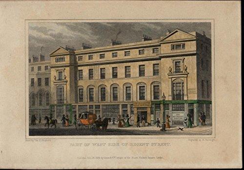 Regent Street London 1829 old print city Architecture hand color lovely fine