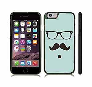 Case Cover For Apple Iphone 6 4.7 Inch with Mustache, Soulpatch and Glasses on Pale Blue Background Snap-on Cover, Hard Carrying Case (Black)