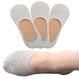 No Show Socks Women, AZB Low Cut Thin Liners Socks for Flats Non Slip-3 Pack NW001
