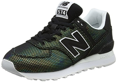 New Balance Womens 574 Core Sneaker, Black/White, 12 B US (Mesh Suede Heels)