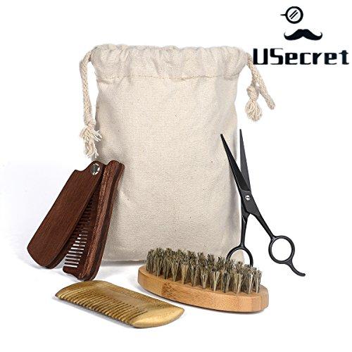 USecret Beard & Mustache Grooming Kit - 4.5 inch Shaving Straight Scissors,Beard Comb,Folding Comb,Beard Brush and Canvas Bag