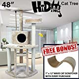 48'' Tall Hiding Cat Tree Special Cat Kitty Tree Scratcher Play House Condo Furniture Toy Bed Post House +FREE GIFT