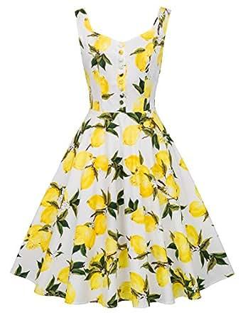 Yellow Lemon Print Vintage Dress Sleeveless Beach Dress S BP416-3
