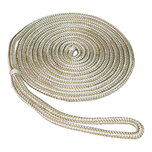 SeaSense Double Braid Nylon Dockline, 5/8-Inch X 25-Foot, Gold/White