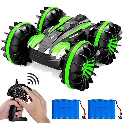 FSTgo Remote Control Car Boat Off Road Truck 4WD 6CH 2.4Ghz Land Water 2 in 1 RC Toy Car Multifunction Waterproof Stunt Radio Controlled Vehicle with Rotate 360 Electric Car Toy (Green)