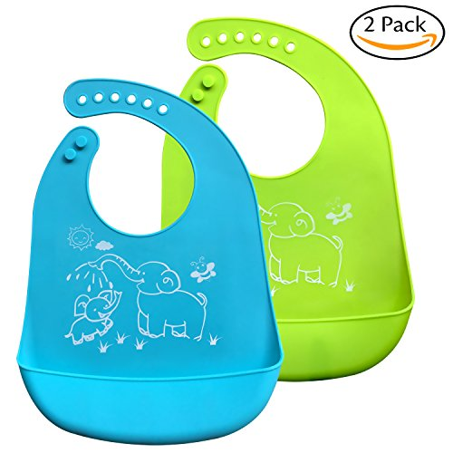 Bassion 2 Pack Waterproof Silicone Bibs - Easily Wipes Clean Silicone Feeding Bibs - Comfortable Soft Waterproof Toddlers Baby Bibs Keep Stains Off - Green & (Bib 2 Pack Green)