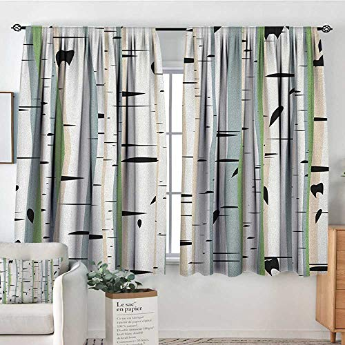 (Sheer Curtains Tree,Trunks of Birches Colorful Dense Forest Design Botanical Spring Season Illustration, Multicolor,Decor Collection Thermal/Room Darkening Window Curtains 42
