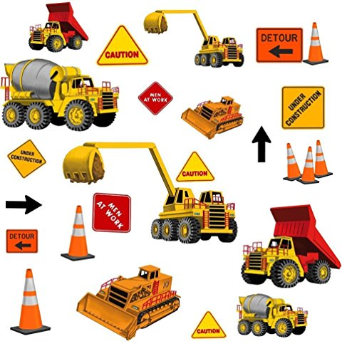 Lunarland CONSTRUCTION 23 BOYS Signs Wall Stickers Dump Trucks Hat DECALS Room DECOR Work