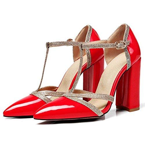 Strap T Heel Women Coolcept Sandals Red Block 1TRR7U