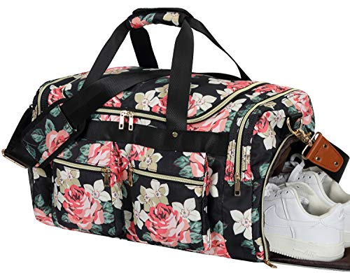 Women Overnight Duffel Bag with Shoe Pocket Floral Weekender Duffle for Lady Girls Weekend Travel Tote Carry On Bag -