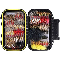 Croch 120pcs Dry Flies Wet Flies Flies Box Set Mix Designs Fishing Lure Bass Salmon Trouts Flies Floating/Sinking Assortment with Waterproof Fly Box
