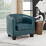 Grafton 1572-01-L07 Joseph Faux Leather Barrel Chair, One Size, Peacock For Sale