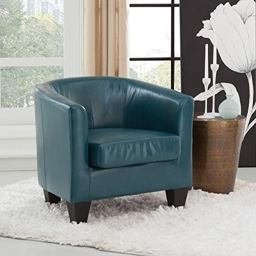 Grafton 1572-01-L07 Joseph Faux Leather Barrel Chair, One Size, Peacock