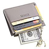 Cyanb Slim Leather Credit Card Case Holder Front Pocket Wallet, Gray, Size Small
