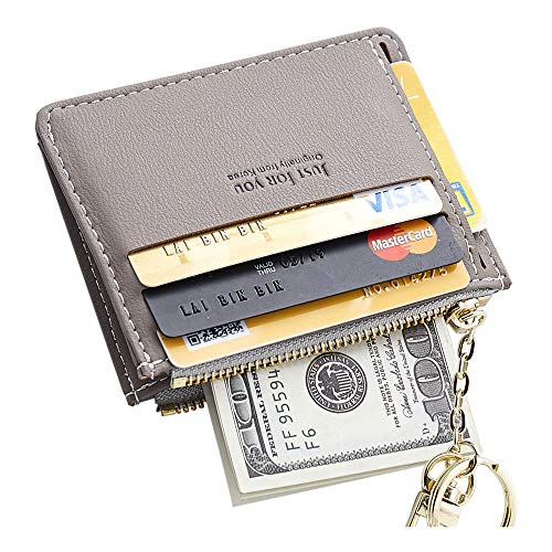 Cyanb Slim Leather Credit Card Case Holder Front Pocket Wallet Change Purse for Women Girls with keychain Grey -