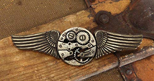 (Steampunk Gold Gear Wings Pin Costume and Cosplay by elope)