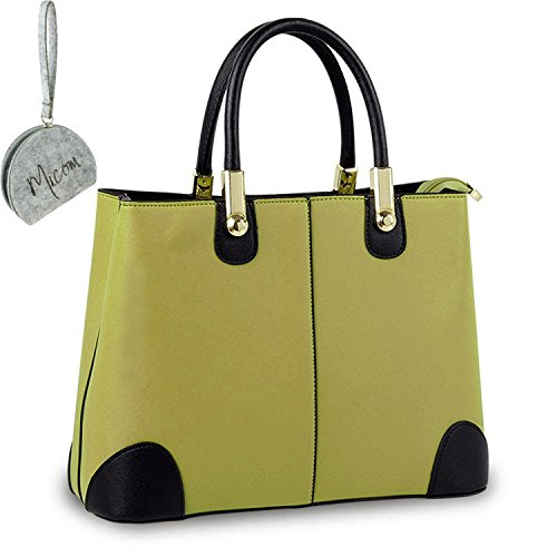 Micom 2015 Fashion Candy Contrast Color Pu Leather Tote Shoulder Handbag for Women,girls with Micom Zip Pouch (Green)