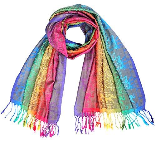 Bijoux De Ja Elephant Rainbow Soft Fringe Fashion Pashmina Pride Shawl Scarf Wrap (Rainbow7)