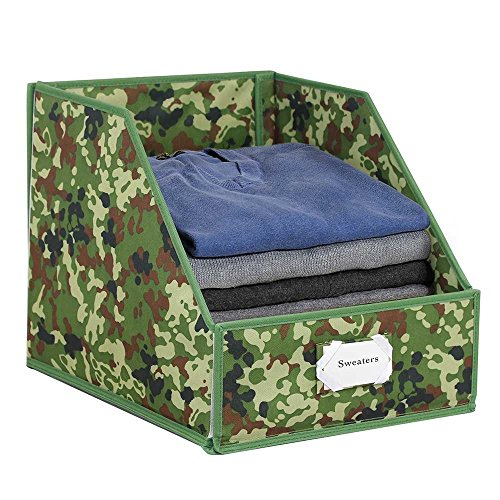 G.U.S Closet Shelf Storage Bin To Organize Sweaters, Jeans and Shirts - Camouflage with Green Trim (Custom Closet Mirror Doors Made)