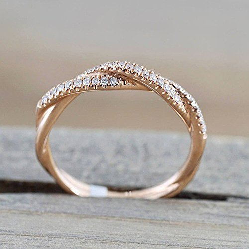 Haluoo Womens Twisted Vine Curve Diamond Statement Ring Rose Gold Plated Cubic Zirconia Solitaire Promise Eternity Ring Infinity Gemstone Wedding Engagement Anniversary Rings (5, Rose Gold)