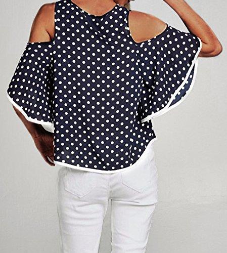 Blouse Femmes Bleu Shirt Polka Nu Rond Epaule Lache Mode Hauts New Sleeve Flare T Chemisiers Casual Tee Col Sweatshirts zqndU46w