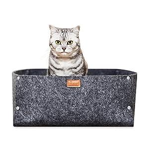 PiuPet® Letto per Gatti incl. Cuscino, Adatto Come Coperta per Cani di Piccola Taglia, Cuccia di Alta qualità in Grigio… 12 spesavip