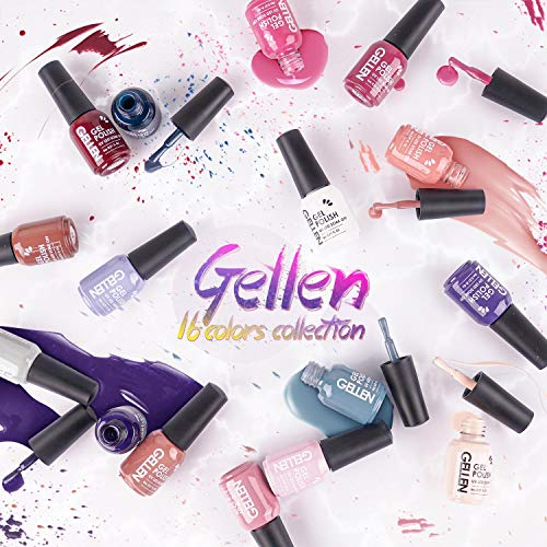 Gellen Gel Nail Polish Kit 16 Colors With Top Base Coat - Popular Nude Grays Nail Gel Collection, Solid Sparkles Glitters UV Pastel Fall Winter Nail Gel Colors Manicure Set