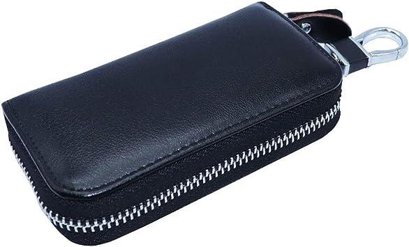 Watruer Car Key Case Genuine Leather Universal Vehicle Wallet Smart Remote Fob Case Holder Keychain Ring Case Bag Light Blue