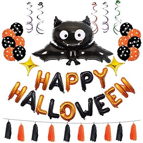 SING F LTD Halloween Balloons Party Celebration Decor Happy Halloween Letter Bat Balloon Set -