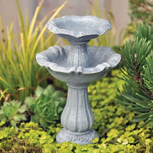 Fiddlehead Fairy Village - Miniature Double Birdbath - includes Bonus Novelty Fairies Bill and I Believe in Fairies 3
