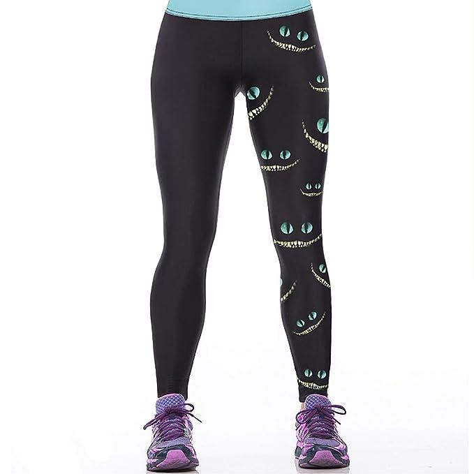 43fe53ae92624 Hamrank Womens Cheshire Cat Print Sport Running Pants Leggings Black ...