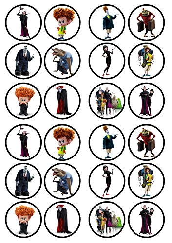 24 Hotel Transylvania PRECUT Edible Cupcake Toppers - Wafer Card disc Cake Decorations Stand UP (PRECUT)