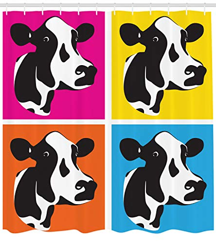 Ambesonne Cattle Shower Curtain, Pop Art Style Cow Head Portraits Composition in Vibrant Colors Graphic Illustration, Cloth Fabric Bathroom Decor Set with Hooks, 70 Inches, Multicolor