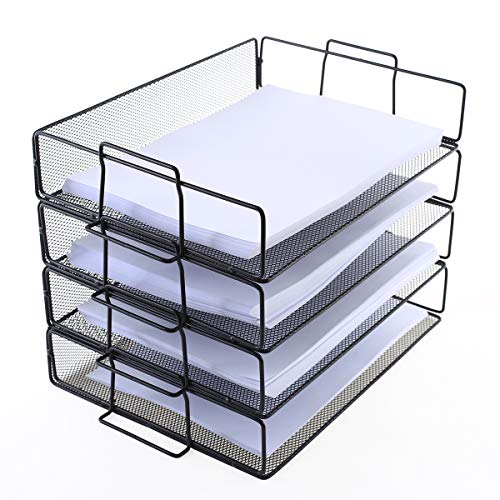 4 Tier Stackable Paper Tray - Metal Mesh Office File Organizer for Desk Printer Letter Teacher Paper Black Color by DeElf