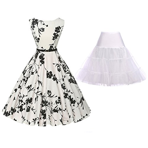 - Vintage Flared Evening Party Dress with Underskirt Crinoline Size L ZHXS0017-3