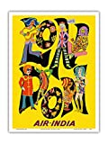 London England - Air India - The Beatles with Maharaja - Vintage Airline Travel Poster c.1968 - Master Art Print - 9in x 12in