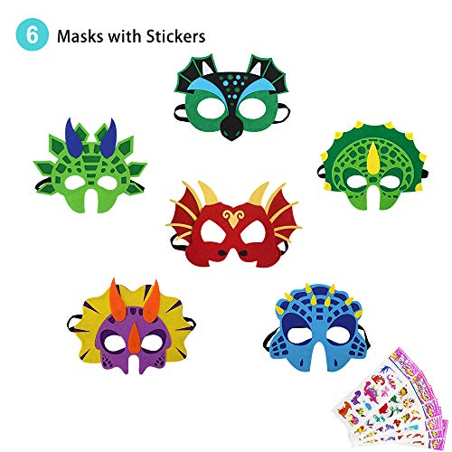 Price comparison product image Flying Childhood Felt Dinosaur Masks for Kids Dress Up Costume-Boys Girls Dino Birthday Party Supplies with Stickers,  6 Pack