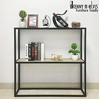 "KennynElvis 40"" 2-Tier Wooden Metal Console Table, Steel with Powder Coating, Wooden, Black - Open display rack, shelves provide easy storage and display for decorative and home living accessories 2 Shelves in high-grade MDF with visible wood grainsand and black powder-coated metal frame. 40 (W) x 10 (D) x 40 (H) inches, 22 pounds. - living-room-furniture, living-room, console-tables - 51q4jd9GteL. SS400  -"