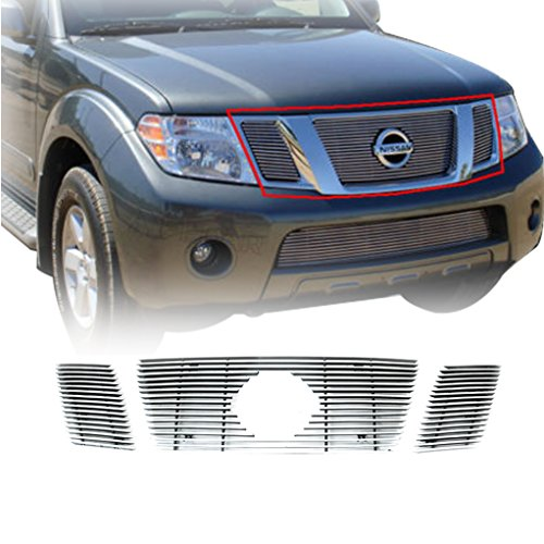Pathfinder Billet (E-Autogrilles Aluminum Polished 4mm Horizontal Overlay Billet Grille for 08-12 Nissan Pathfinder (3PCS) (34-0157))