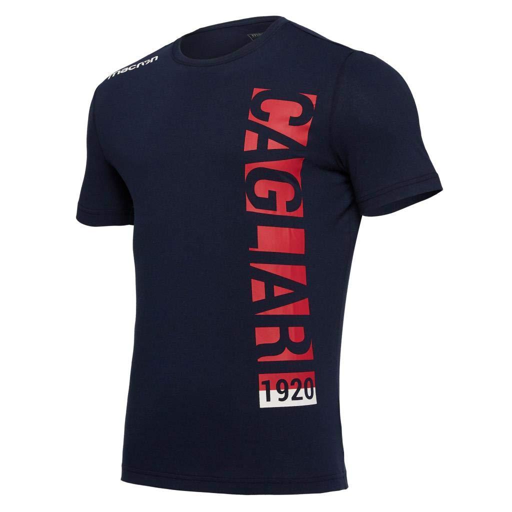Cagliari Calcio - T.Shirt Cotone MOD.2 Navy Uomo CAGLIARI CALCIO- MACRON