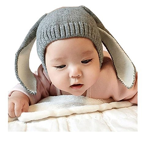 RoyLink Kids Baby Hat Warm Fleece Knit Winter Hat Earflap Hood Funny Rabbit Bunny Ears CapGray