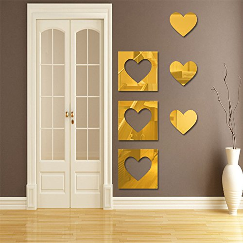 Wall Decals - Wall Décor - Mirror Wall Stickers - Heart Wall Decals - Gold Wall Décor - Heart Wall Stickers - Mirror Stickers - Gold Wall Decals - Wall Decals for Kids Rooms ()