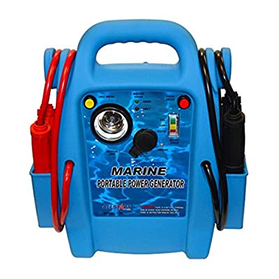 Marine Portable Power to start your boat, car or RV marine jump starter, light, clamps, 300W DC-AC