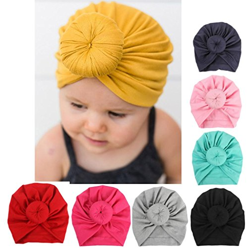 Sunbona Newborn Hat,Toddler Baby Cotton Turban Knotted Hat India Hat Soft Cap for New Mother (Black)