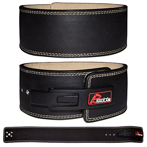 RAULAM INTERNATIONAL Lever Belt -Weight Lifting Lever Belt/Power Lifting Lever Belt/Buckle Belt (Black/Cream, Medium)