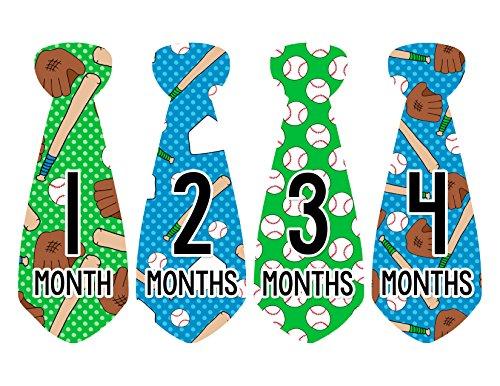 Monthly Baby Stickers Baseball Tie Boy 12 Month Milestone Sticker Months in...